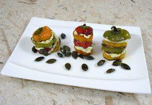 Mini-poivrons à l'huile de courge et aux graines de courge fin
