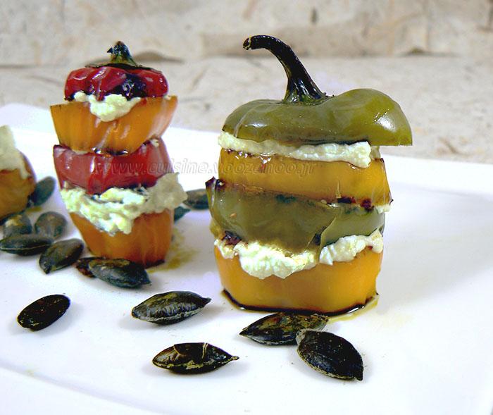 Mini-poivrons à l'huile de courge et aux graines de courge presentation