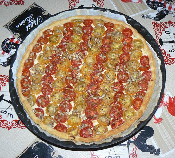 Tarte bicolore aux tomates cerises fin