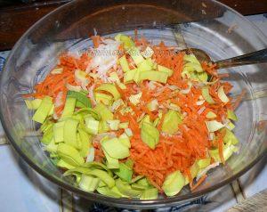 Pâtes comme un risotto aux légumes et viande etape1