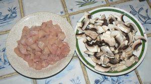 Risotto au poulet, champignons et noix de cajou etape1