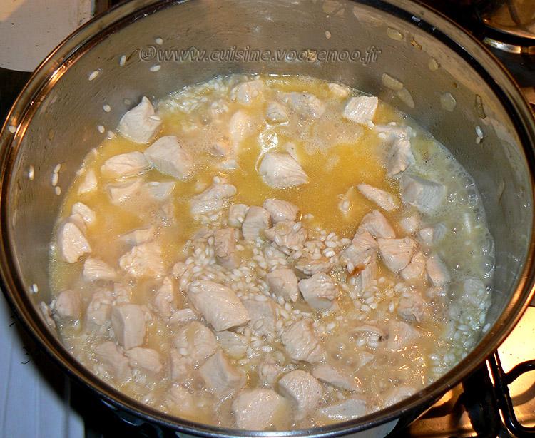 Risotto au poulet, champignons et noix de cajou etape4