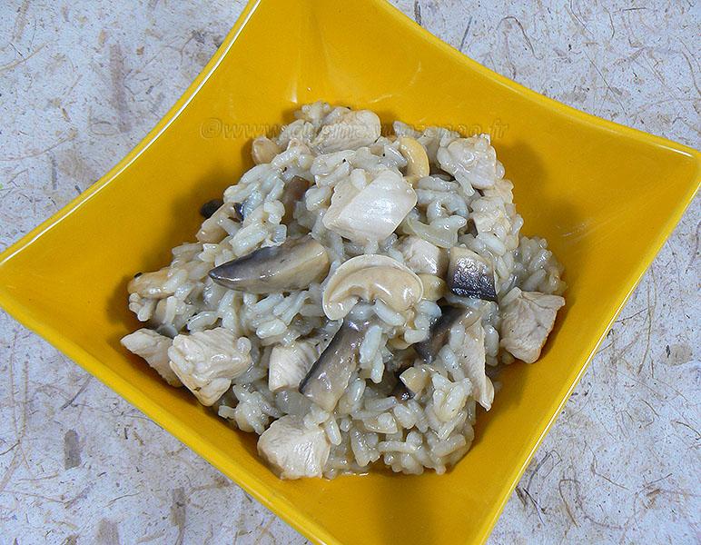 Risotto au poulet, champignons et noix de cajou presentation