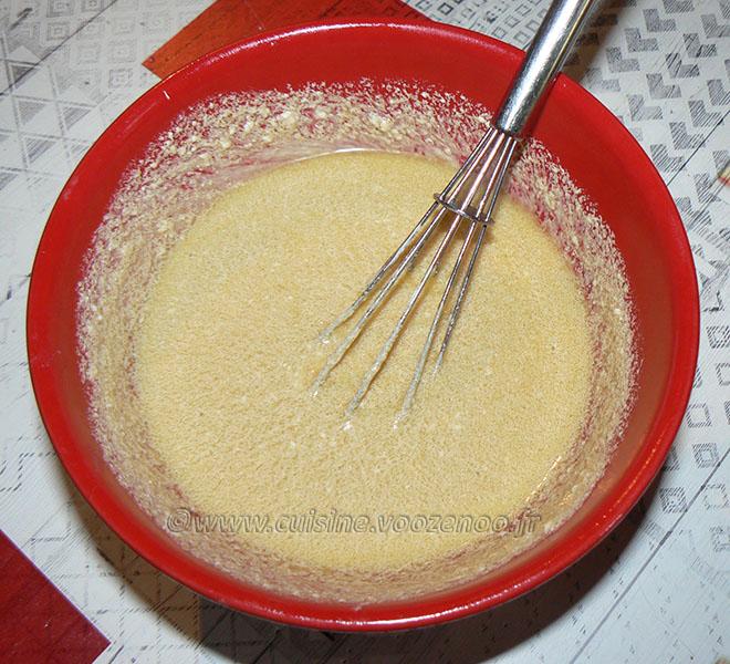 Salade de fèves au fromage frais, œuf poché etape2