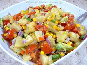 Brochettes de crevettes à la plancha et salade exotique etape1
