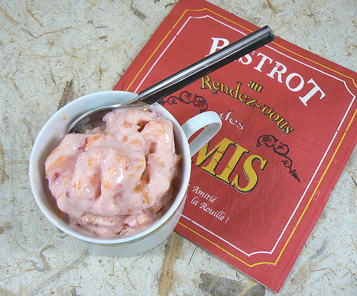 Frozen yogourt fraises et abricots fin