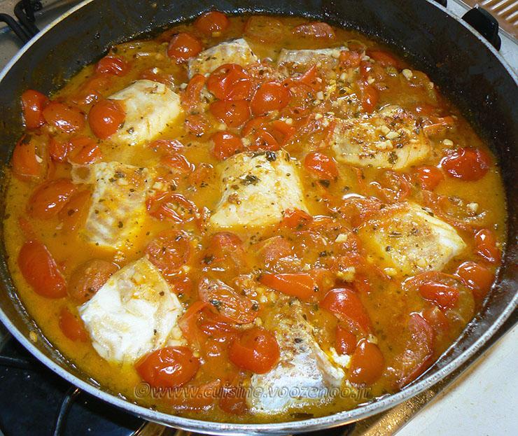 Dos de cabillaud, sauce tomates cerises fin