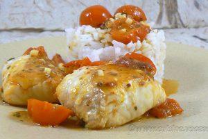 Dos de cabillaud, sauce tomates cerises