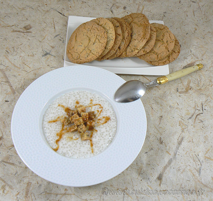 Soupe coco et ses croutons cookies fin