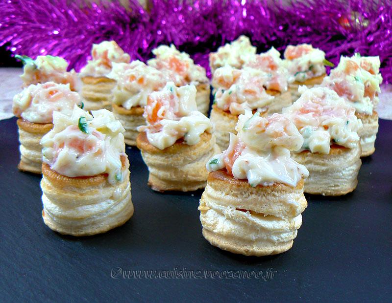 Mini Vol au vent au saumon, ciboulette et mayonnaise presentation