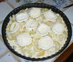 Tatin aux pommes de terre, lard et chèvre etape4