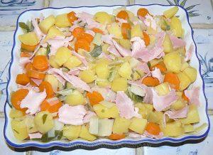 Gratin de pommes de terre, carottes, poireaux et Fourme d'Ambert etape3