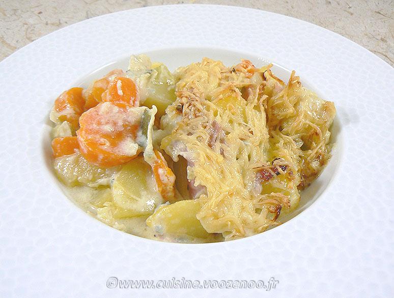 Gratin de pommes de terre, carottes, poireaux et Fourme d'Ambert fin2