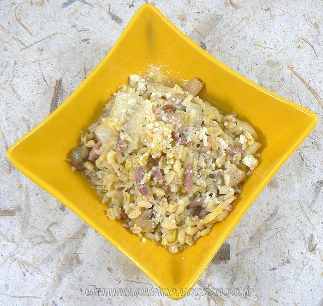Blé aux champignons, lardons et chou chinois fin2