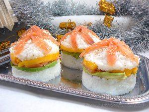 Sushi burger presentation
