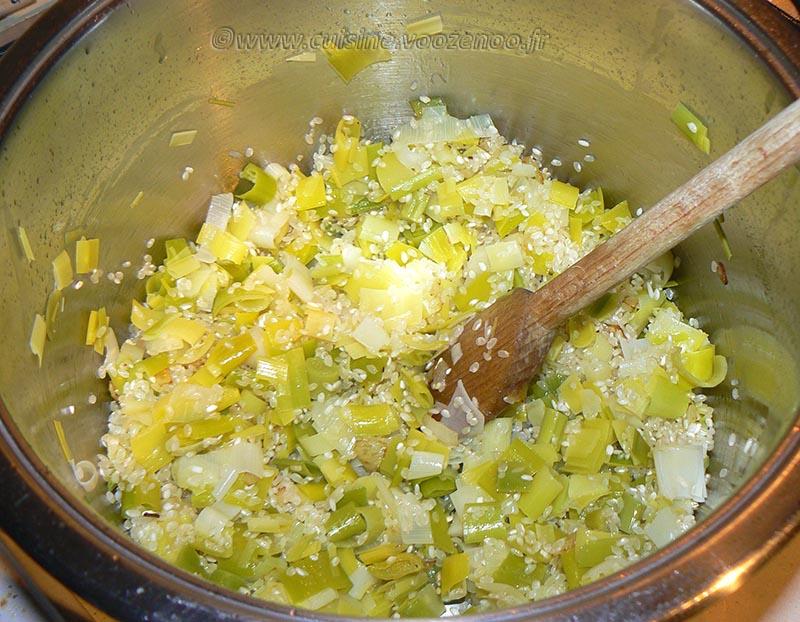 Risotto à la saucisse de Morteau, poireau et lard grillé etape1