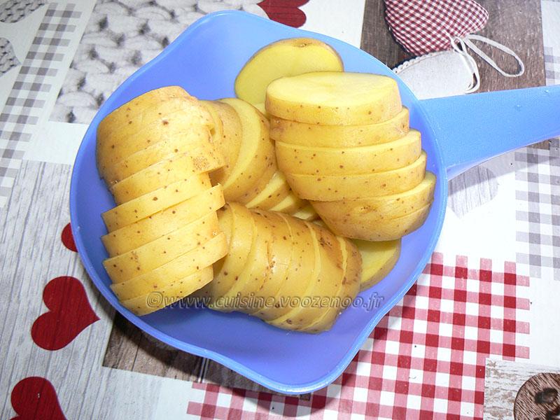 Millefeuille de pommes de terre au lard, bacon et chèvre etape1