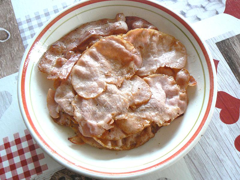 Millefeuille de pommes de terre au lard, bacon et chèvre etape4