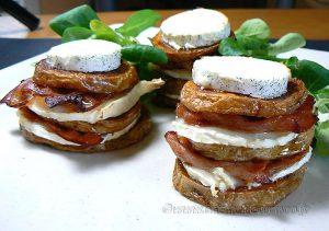Millefeuille de pommes de terre au lard, bacon et chèvre fin