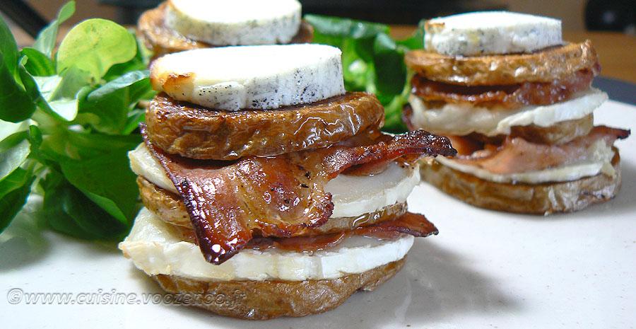 Millefeuille de pommes de terre au lard, bacon et chèvre slider