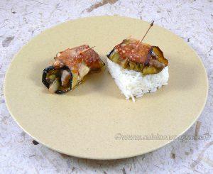 Cannellonis d'aubergine à l'agneau et petits légumes fin