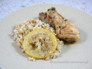 Cuisses de poulet citron, ail et basilic presentation