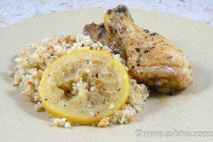 Cuisses de poulet citron, ail et basilic