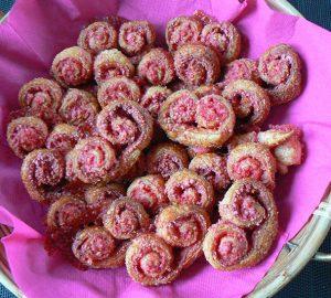 Palmiers aux pralines roses fin