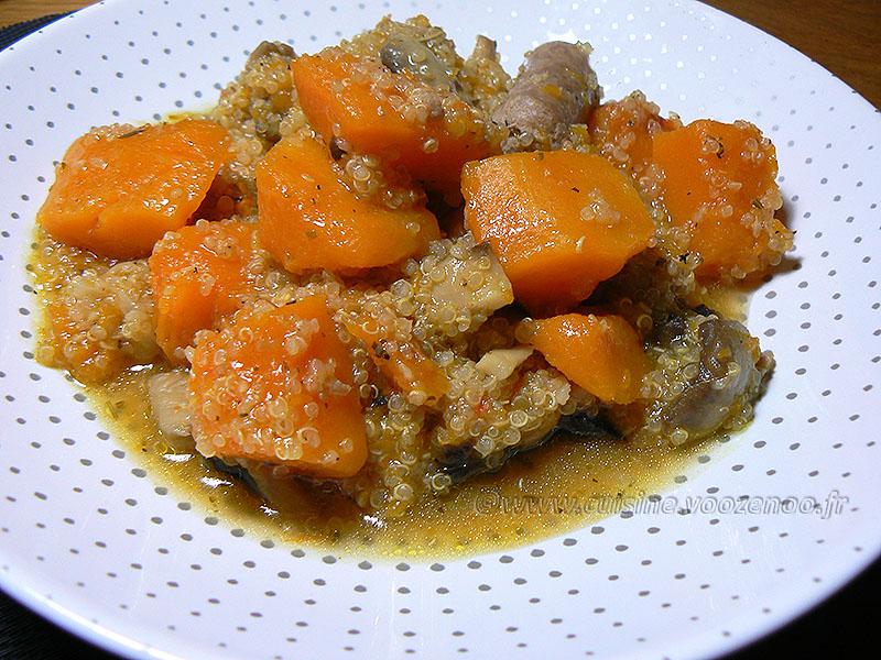 Quinoa à la Butternut et chipolatas presentation