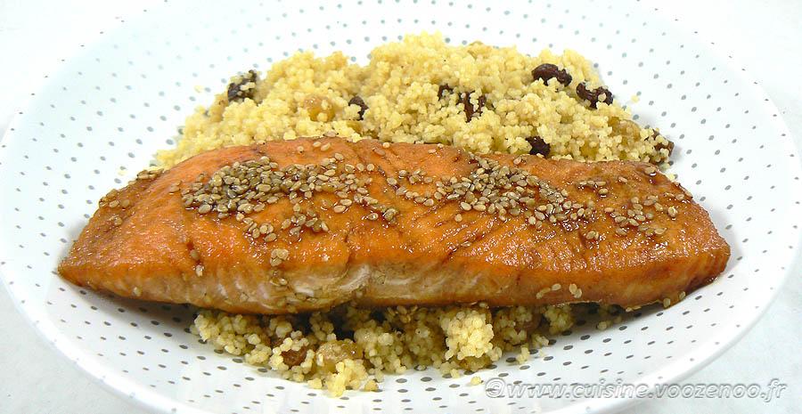 Pavé de saumon laqué, semoule épicée slider