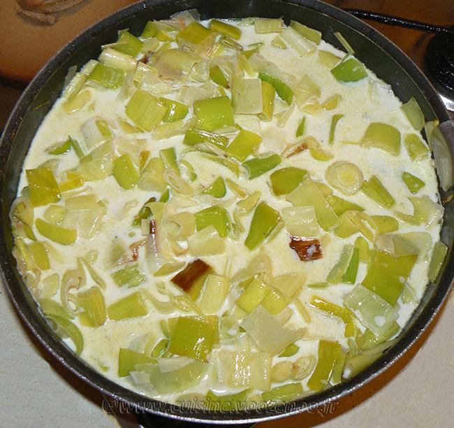 Galettes de riz, poireaux à la crème et œufs au plat etape5