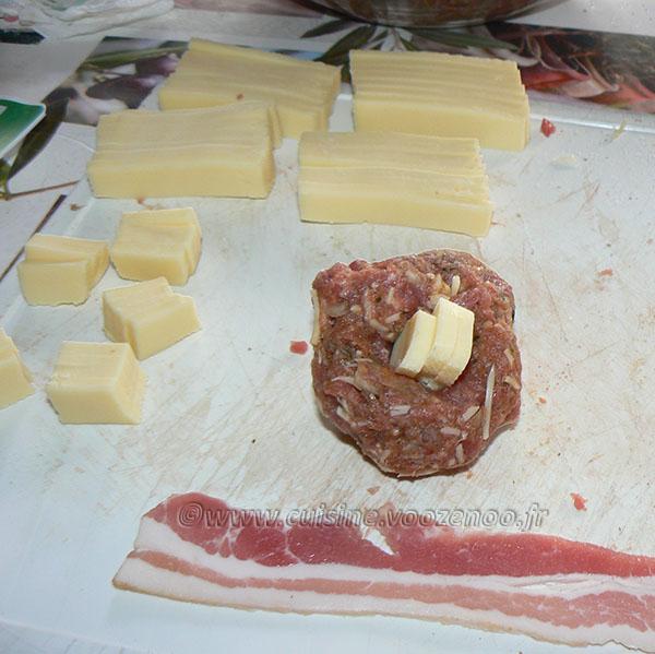 Boulettes de bœuf à la raclette et lard etape2