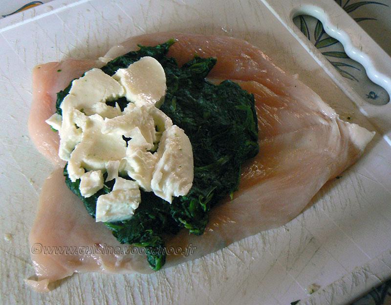 Blancs de poulet farcis aux épinards et mozzarella etape1