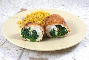Blancs de poulet farcis aux épinards et mozzarella presentation