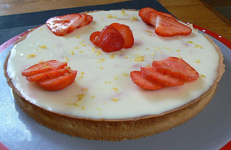 Tarte panna cotta citron, compotée de fraises fin2