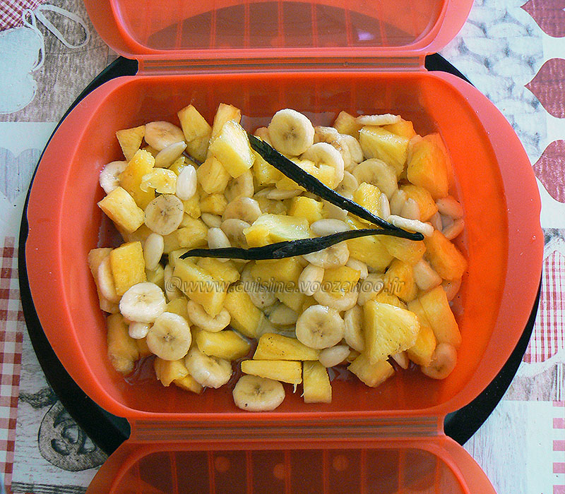 Papillote d'ananas et banane au sirop de vanille etape4
