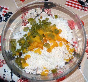 Salade de riz au thon, champignons et poivrons etape2