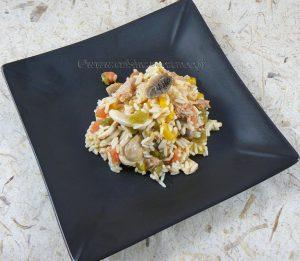 Salade de riz au thon, champignons et poivrons fin2