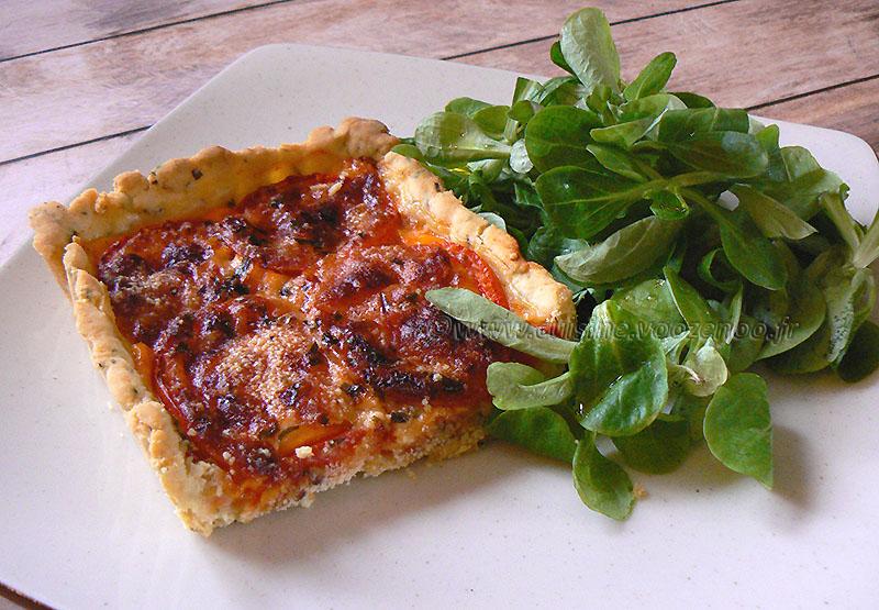Tarte tomate, estragon et fromage fin