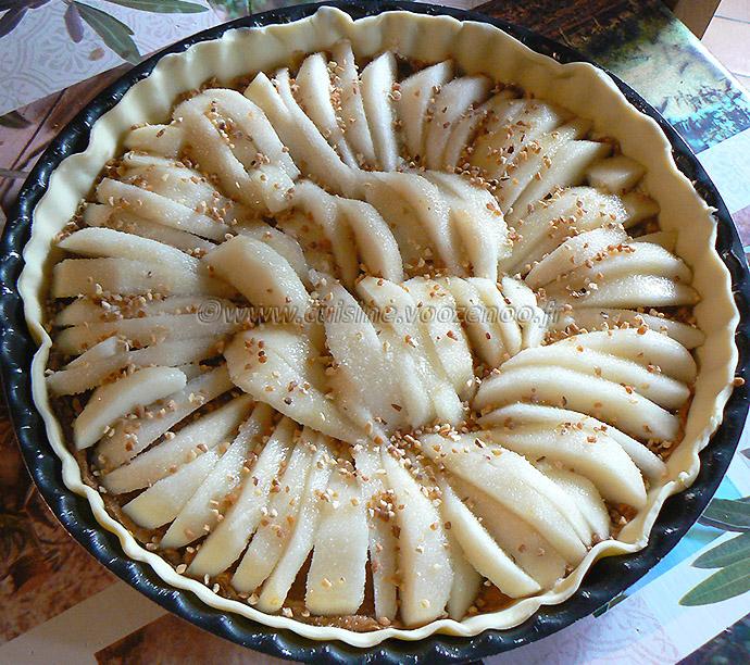 tarte aux poires, speculoos et pralin etape2