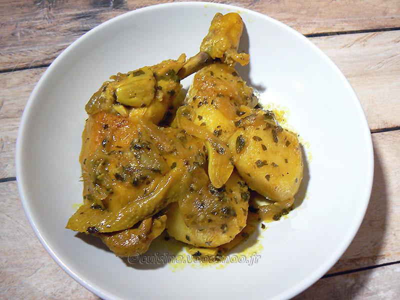 Tajine de poulet au citron confit presentation