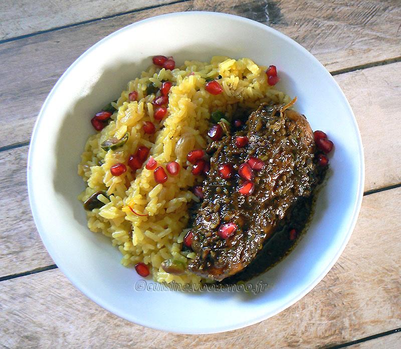 Blancs de poulet à la mélasse de grenade, noix et riz persan fin3
