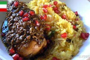 Blancs de poulet à la mélasse de grenade, noix et riz persan