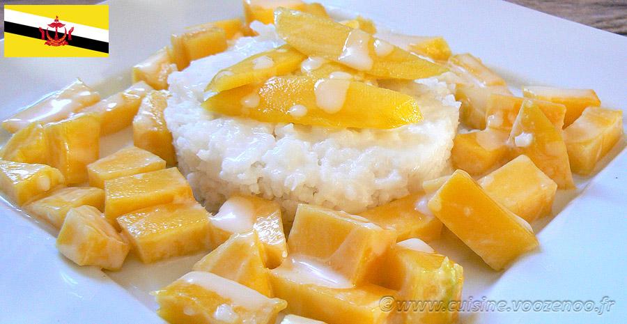 Mangue et riz collant sauce noix de coco slider