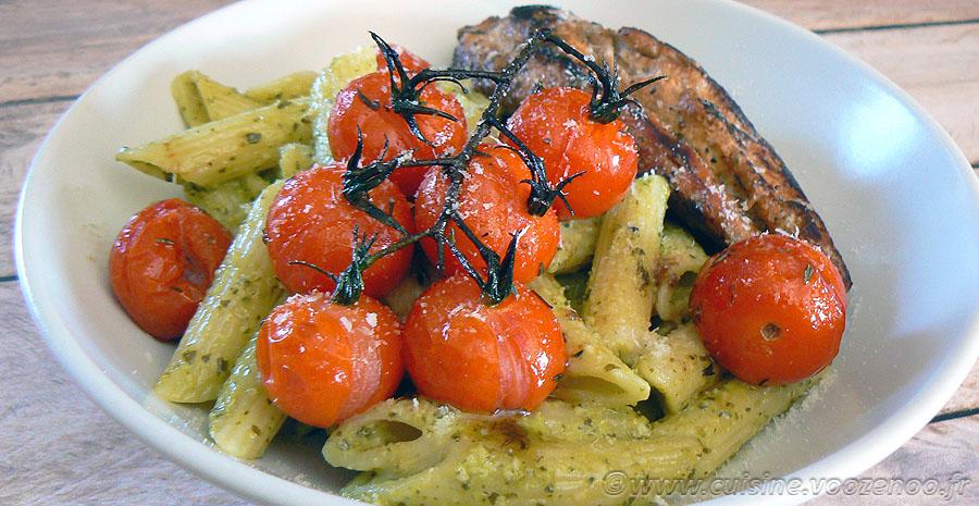 Penne au pesto, tomates cerises rôties slider