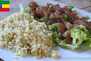 Salade de boulghour et salade de tomates Ethiopiennes