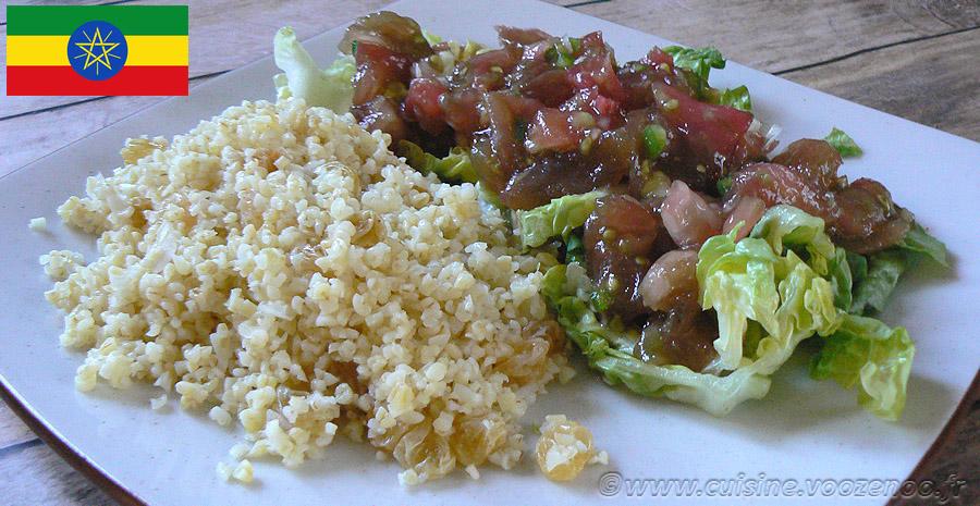 Salade de boulghour et salade de tomates Ethiopiennes slider