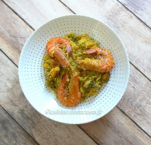 Riz épicé aux crevettes fin